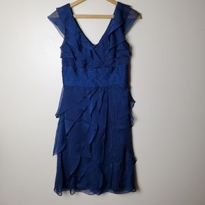 Adrianna Papell Navy Blue Ruffle Occasion Dress